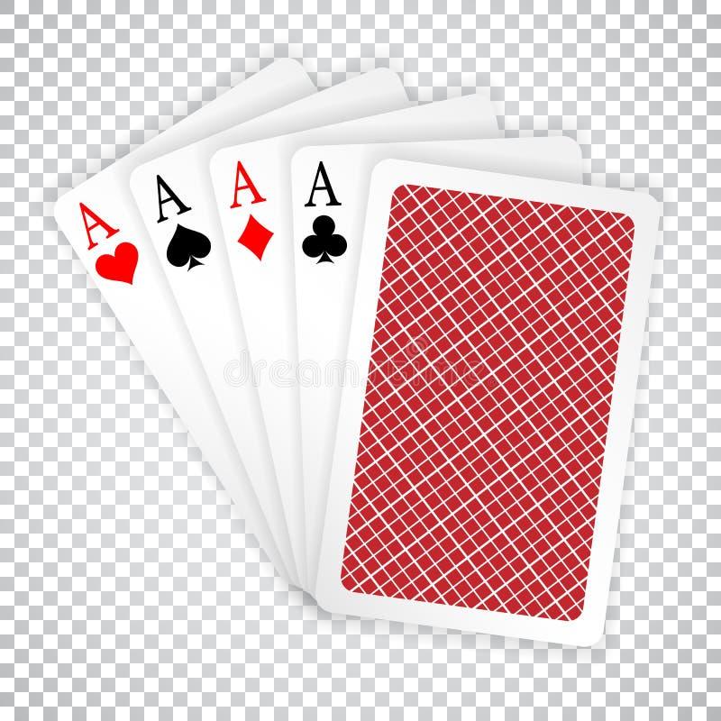 在五张卡片纸牌游戏手纸牌的四一点与后面设计 现有量啤牌赢取 向量例证