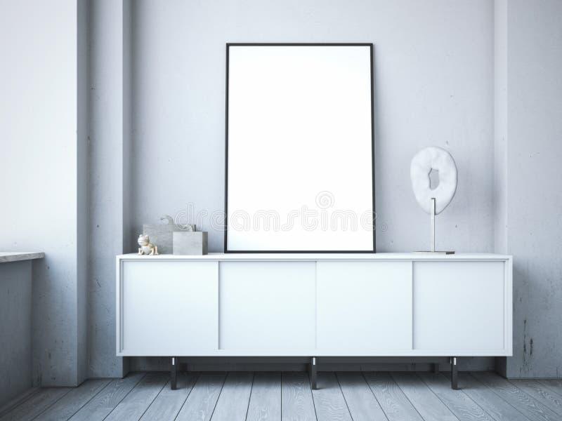 在五斗橱的空白的框架在现代顶楼 免版税库存图片