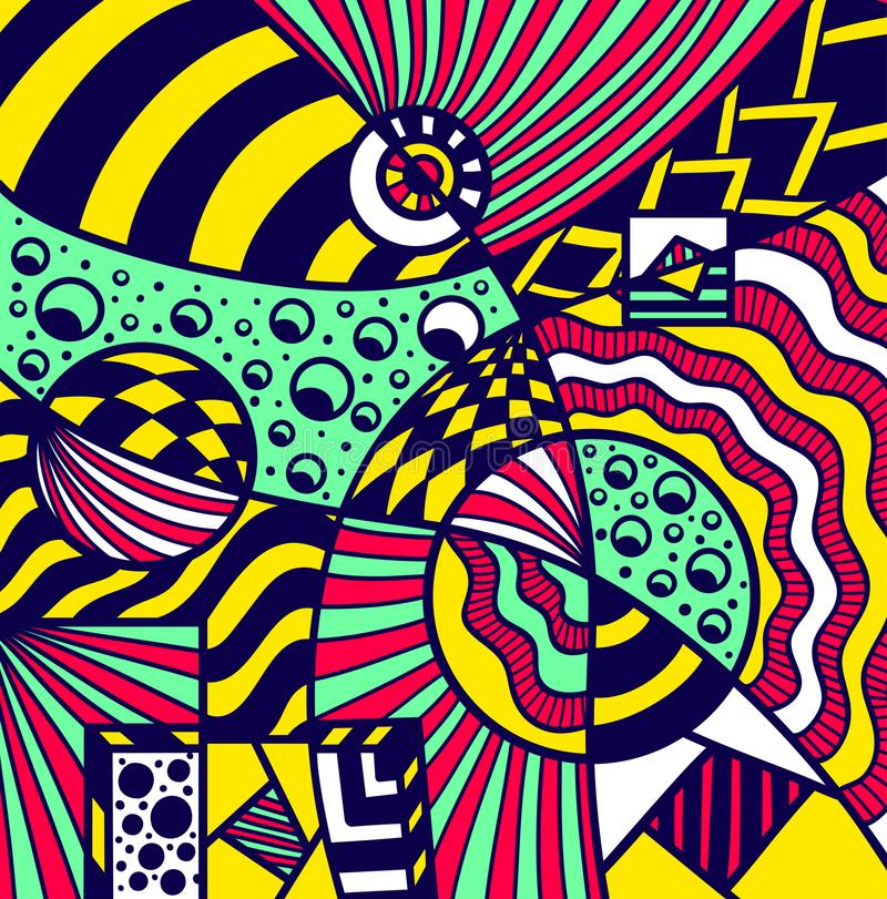 在五颜六色孟菲斯的样式的抽象波斯菊背景样式 向量例证