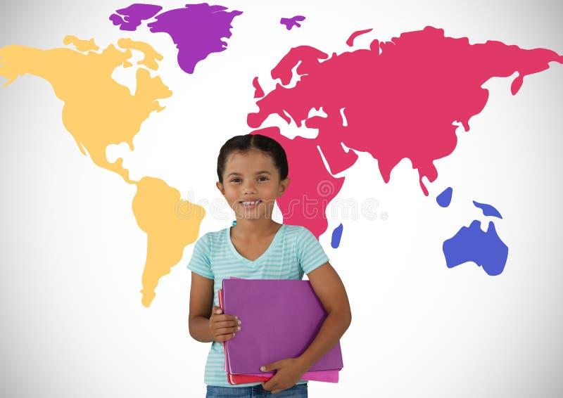 在五颜六色的世界地图前面的女小学生 库存图片