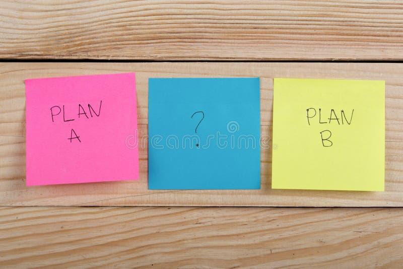 在五颜六色的办公室贴纸的计划a或计划b在木书桌上 免版税图库摄影