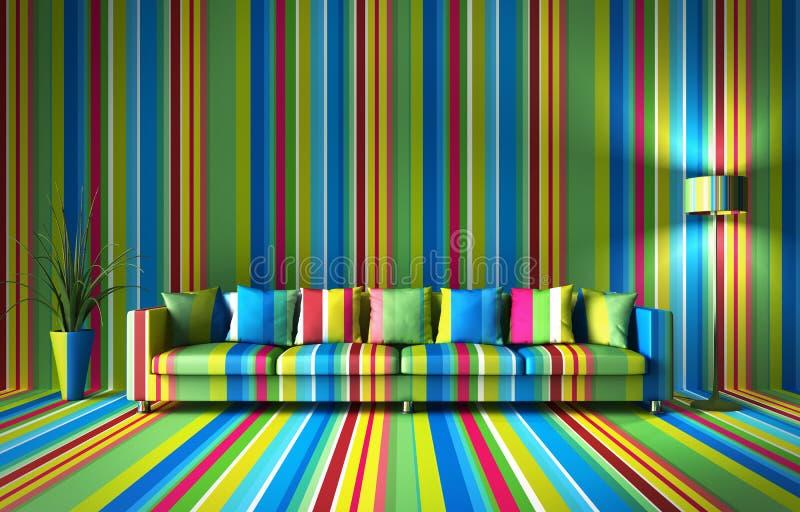 在五颜六色的墙壁前面的沙发 库存例证