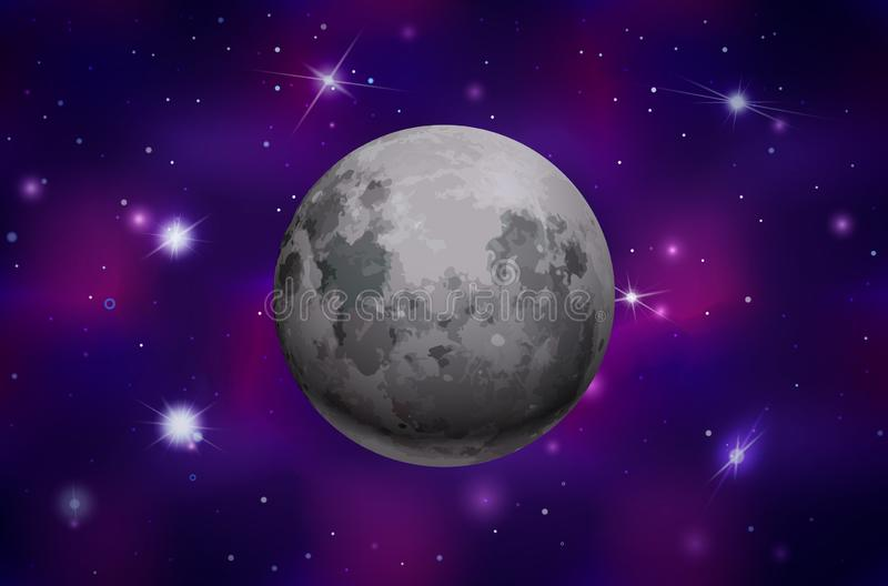 在五颜六色的外层空间背景的明亮的现实月亮与明亮的星 库存例证