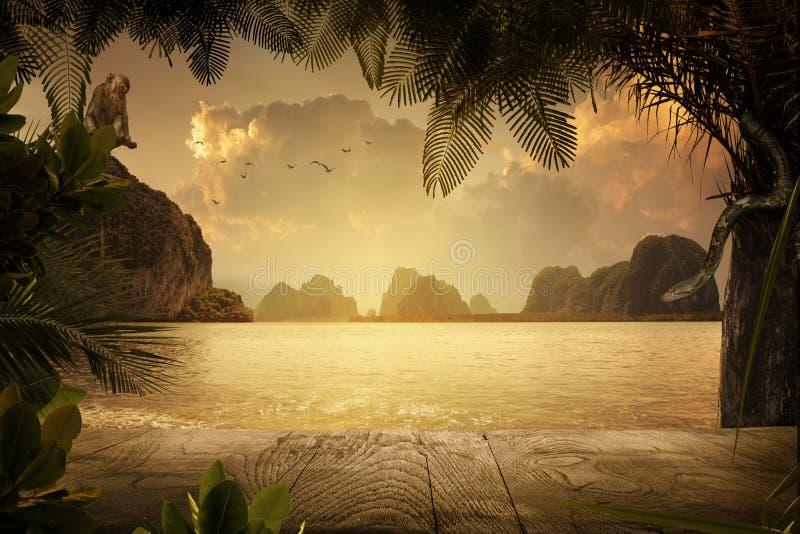 在五颜六色的日落期间的好的热带岸 免版税库存照片