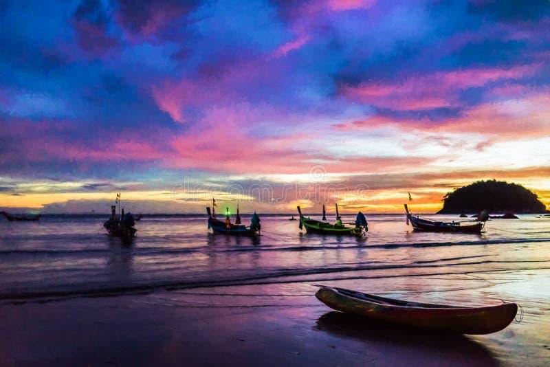在五颜六色的日落的小船 库存照片