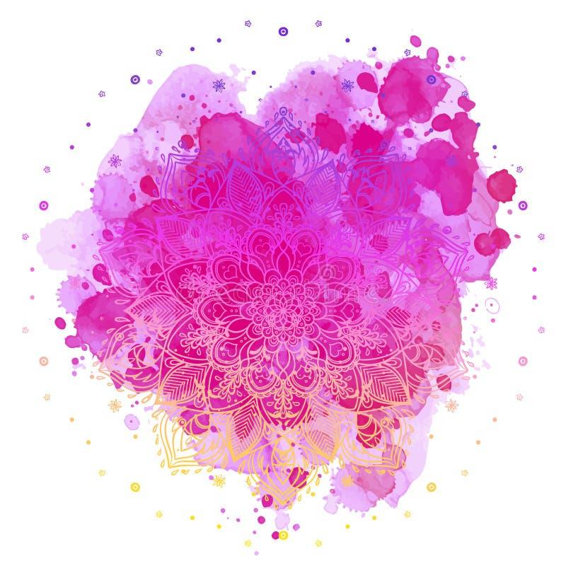 在五颜六色的水彩的坛场 美丽的葡萄酒圆的啪答声 库存例证