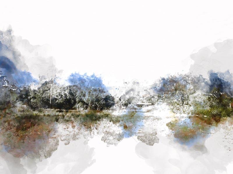在五颜六色的水彩绘画背景的抽象美好的领域风景 皇族释放例证