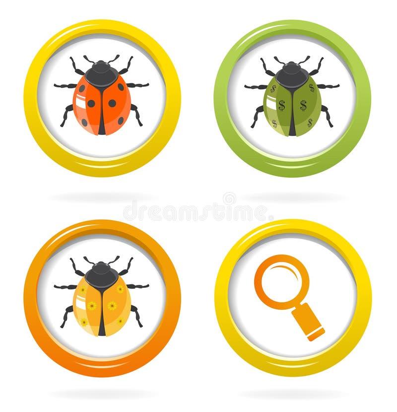 在五颜六色的泡影的瓢虫光滑的图标 皇族释放例证
