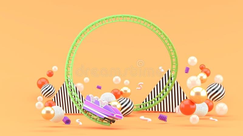 在五颜六色的球中的一紫色过山车好久在橙色背景 免版税图库摄影