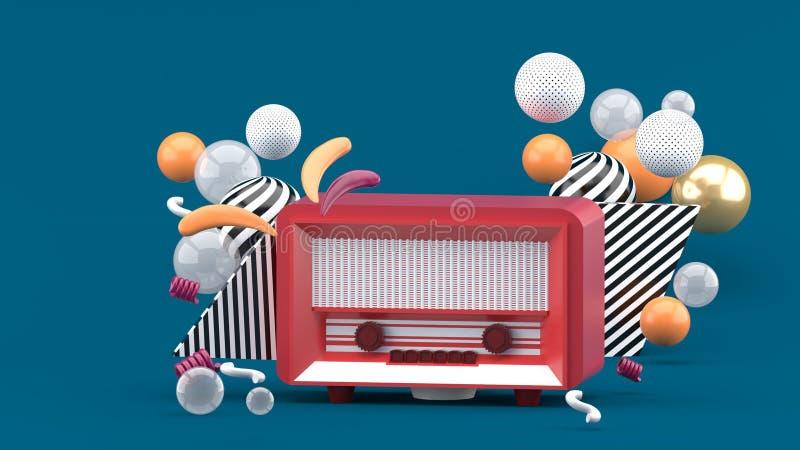 在五颜六色的球中的红色收音机在蓝色背景 向量例证