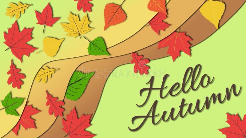 在五颜六色的秋叶微妙和镇静颜色口气的简单的平的设计例证与你好秋天说明的 向量例证