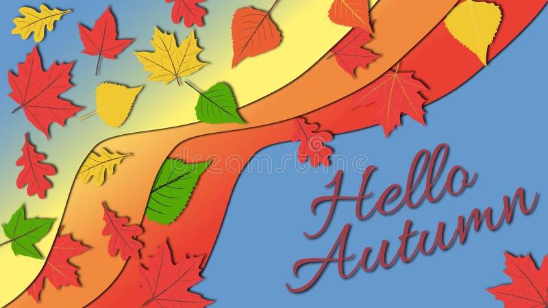 在五颜六色的秋叶生动的颜色口气的简单的平的设计例证与你好秋天说明的 向量例证