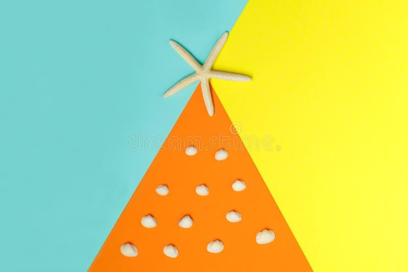在五颜六色的背景的一个大海星和许多在橙色背景的小海壳 顶视图 图库摄影
