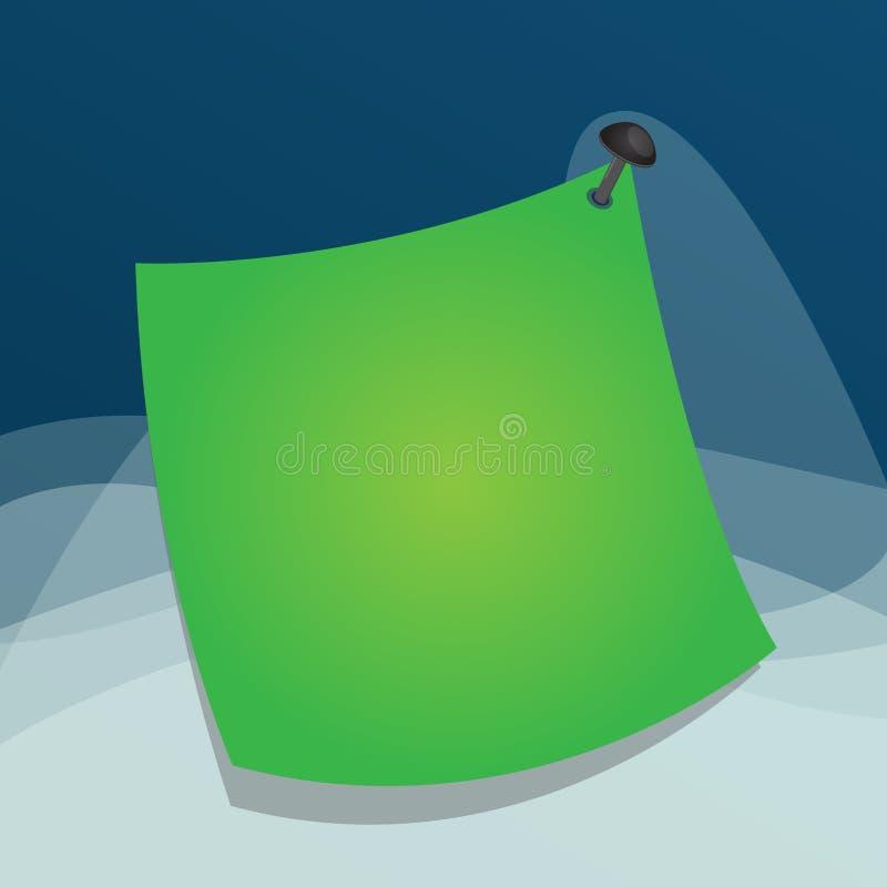在五颜六色的背景的一个钉子别住的弯曲的备忘录便条纸 表面上附有的空的贴纸提示标志 向量例证