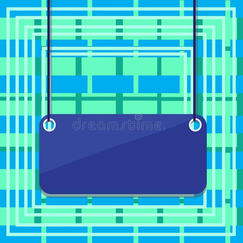 在五颜六色的背景的垂悬的空的长方形形状的标志 委员会附有在表面上的两个末端由串 镶板与 库存例证