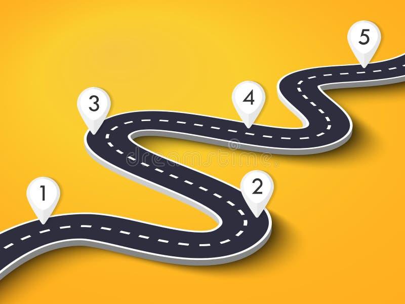 在五颜六色的背景的弯曲道路 与别针尖的路线地点infographic模板 库存例证