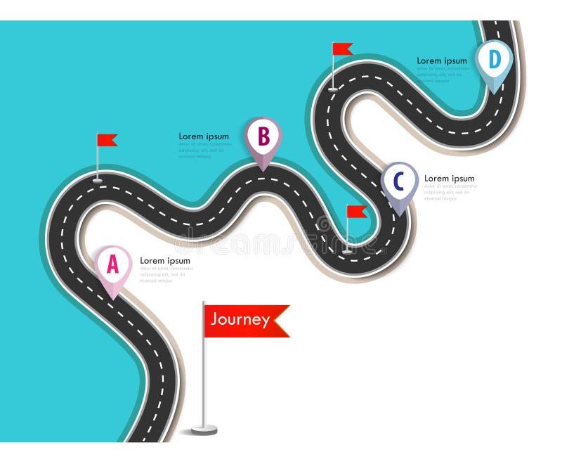在五颜六色的背景的弯曲道路 库存例证
