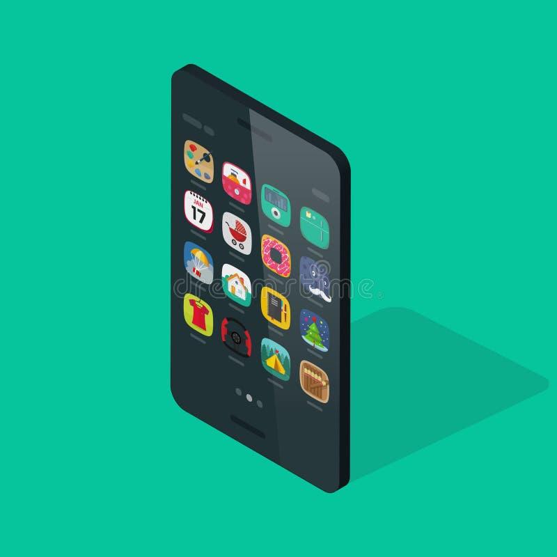 在五颜六色的背景的智能手机等量传染媒介 库存例证