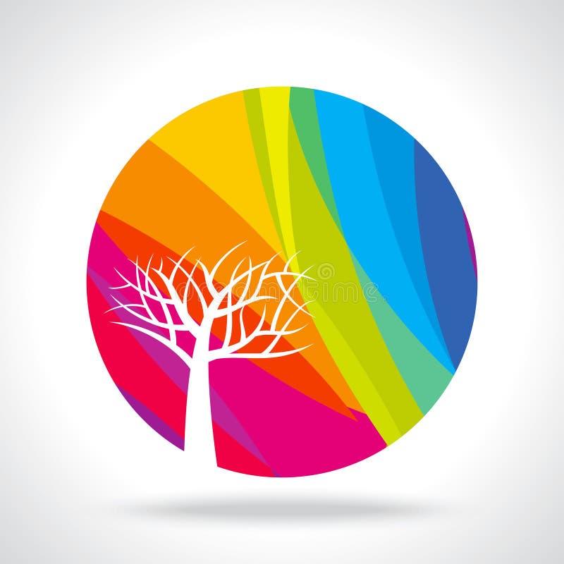 在五颜六色的背景的秋天抽象树 库存例证