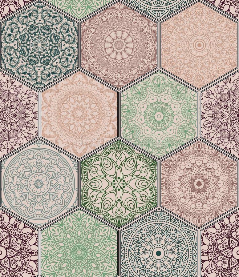 在五颜六色的花卉补缀品样式的样式  向量例证