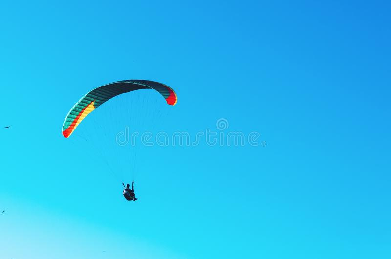 在五颜六色的降伞的滑翔伞飞行在蓝色清楚的天空一个明亮的晴朗的夏日 活跃生活方式,极端体育 自由c 免版税库存照片