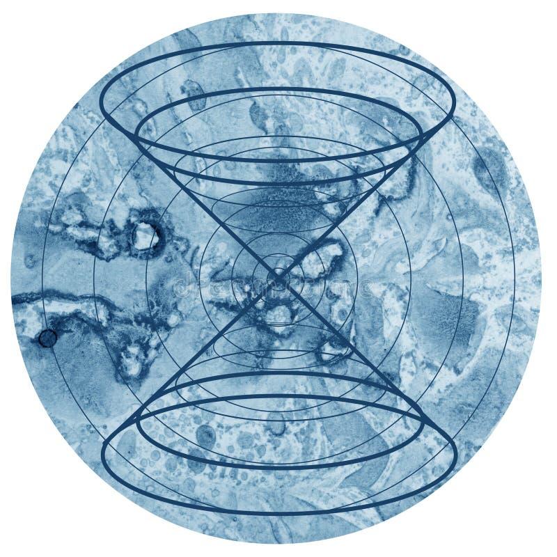 在五颜六色的水彩圆的背景的神圣的几何标志 向量例证