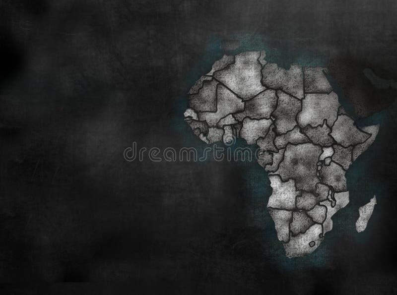 在五颜六色的黑板样式的非洲非洲大陆地图与C 库存例证