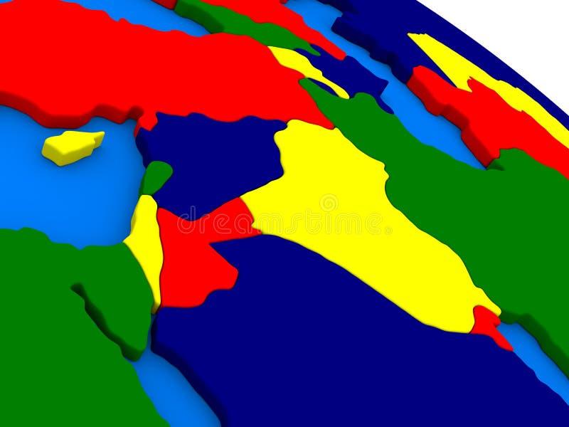 在五颜六色的3D gl的以色列、黎巴嫩、约旦、叙利亚和伊拉克地区 库存例证