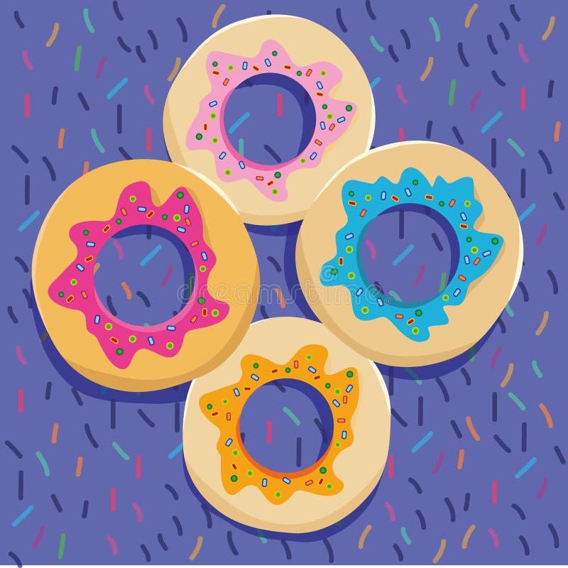 在五颜六色的backgound的油炸圈饼 库存照片
