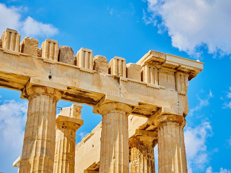 在亚典人上城的帕台农神庙寺庙 雅典 Attica,希腊 免版税库存照片