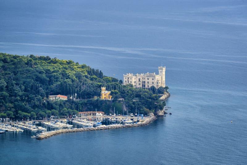 在亚得里亚海海岸的著名Miramare城堡 免版税库存照片