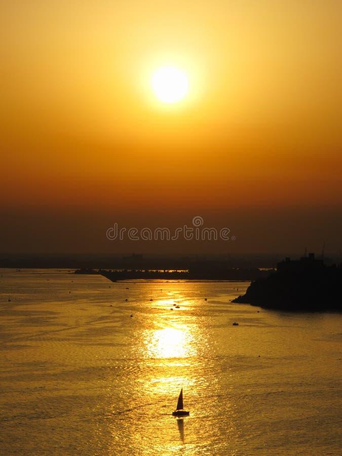 在亚得里亚海的日落 免版税库存图片