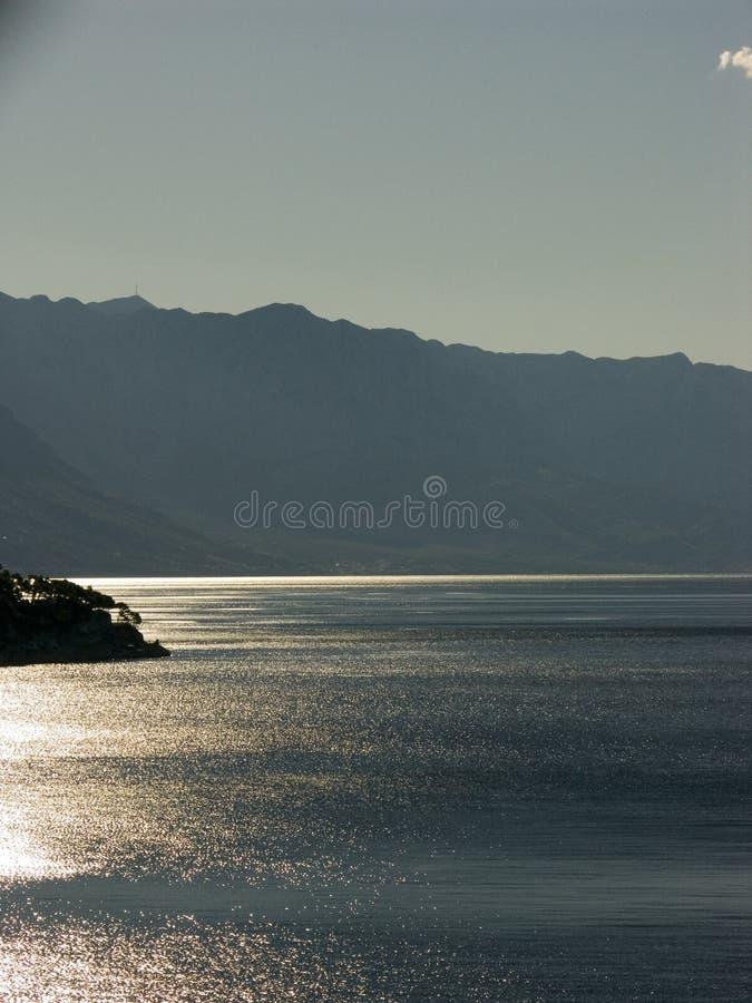 在亚得里亚海的海岸的日出 免版税库存图片