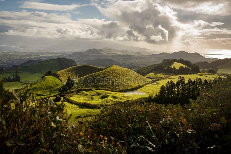 在亚速尔海岛、绿色自然领域和小山上的美好的自然视图 免版税库存照片
