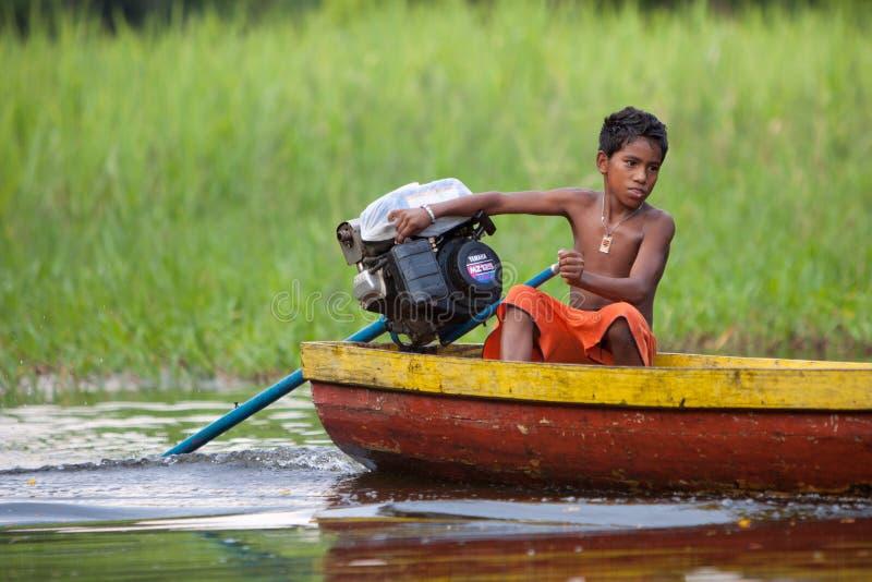 在亚马孙河的小船 库存照片