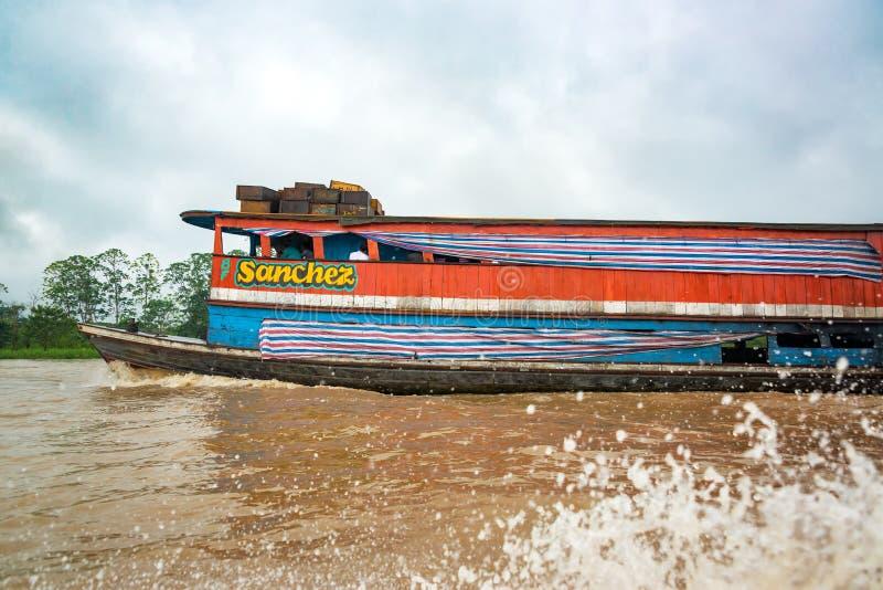 在亚马逊的小船 库存照片