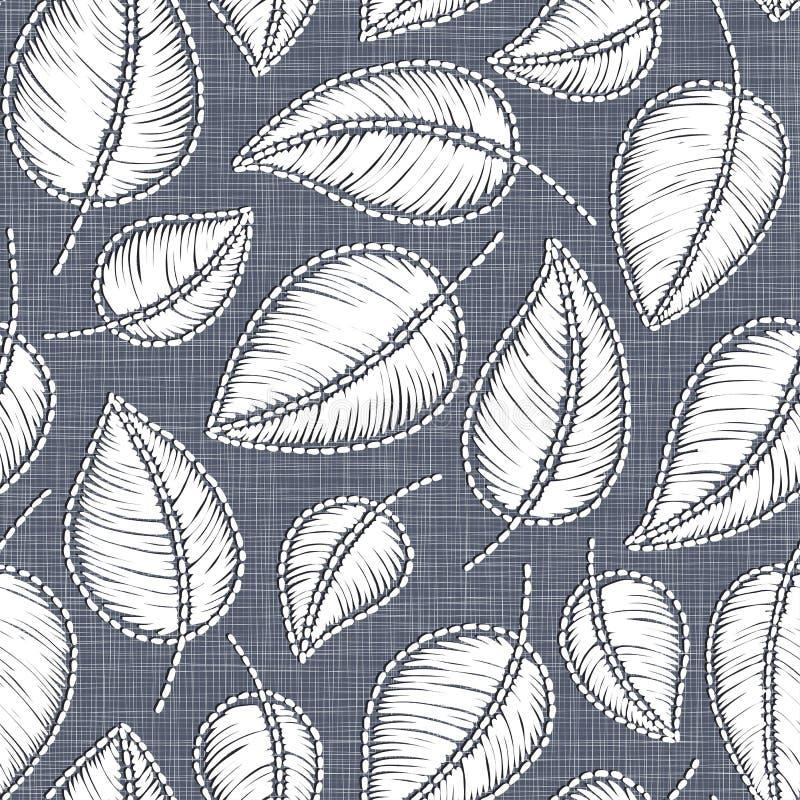 在亚麻布纹理的刺绣花卉无缝的样式纺织品的,家庭装饰,时尚,织品 缝模仿 库存例证