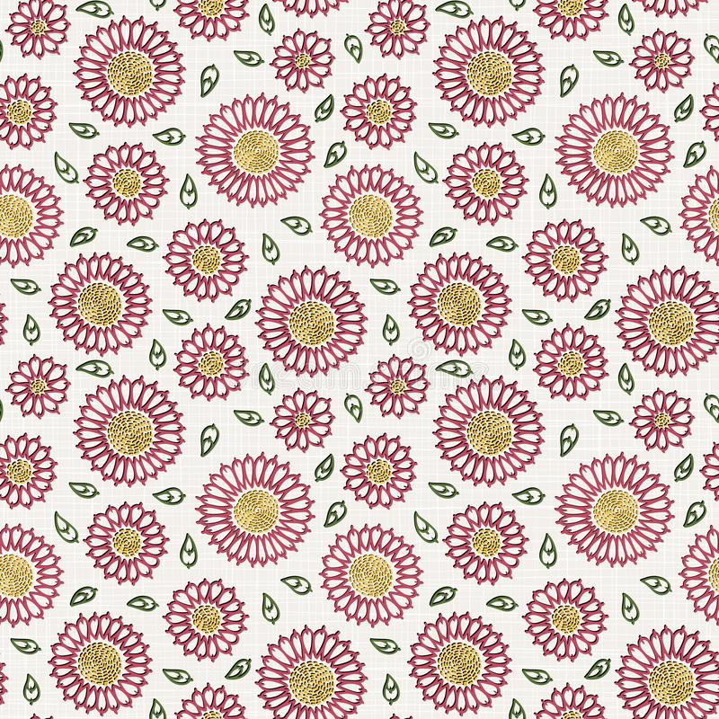 在亚麻布纹理的刺绣花卉无缝的样式纺织品的,家庭装饰,时尚,织品 缝模仿 皇族释放例证