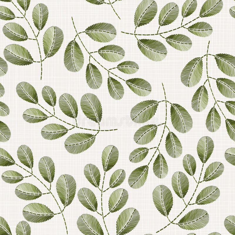 在亚麻布纹理的刺绣花卉无缝的样式 皇族释放例证