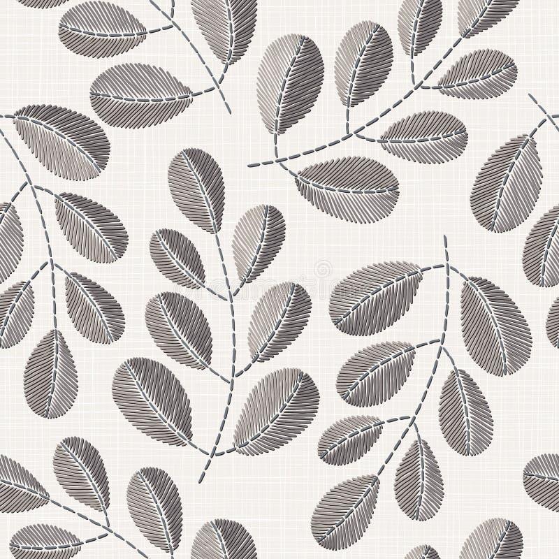 在亚麻布纹理的刺绣花卉无缝的样式 向量例证