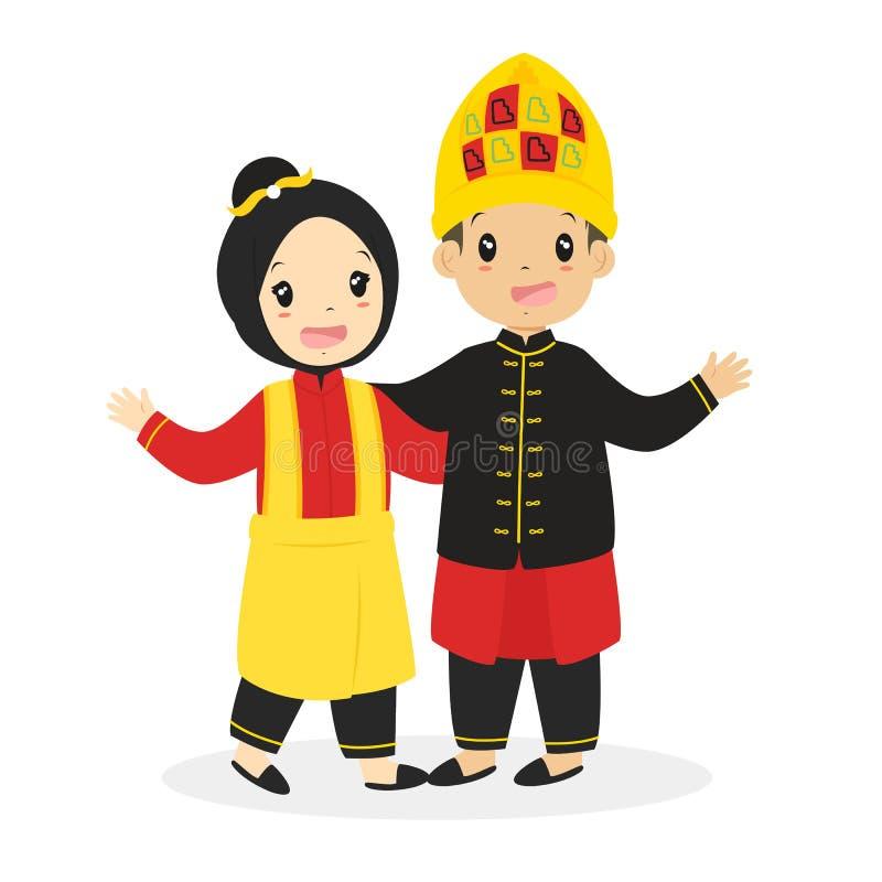 在亚齐传统礼服动画片传染媒介的孩子 库存例证
