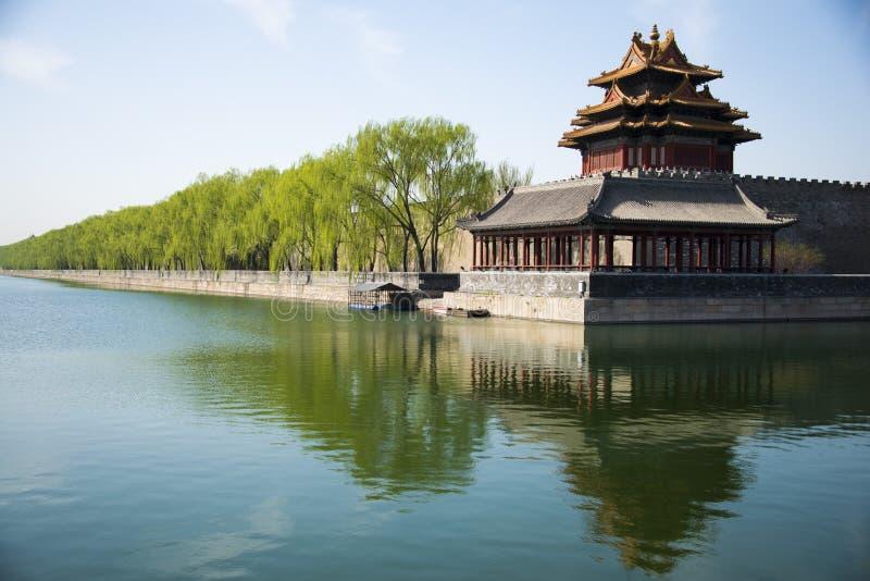 在亚洲,北京,中国,历史建筑,故宫,塔楼 库存照片