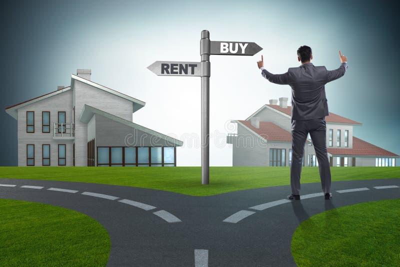 在交叉路betweem购买和租赁的商人 库存图片