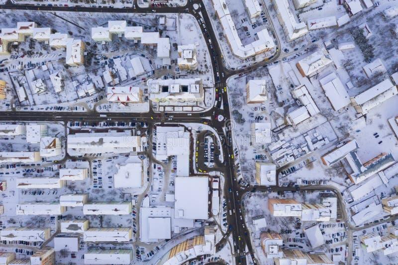 在交通上看法在冬天 免版税图库摄影