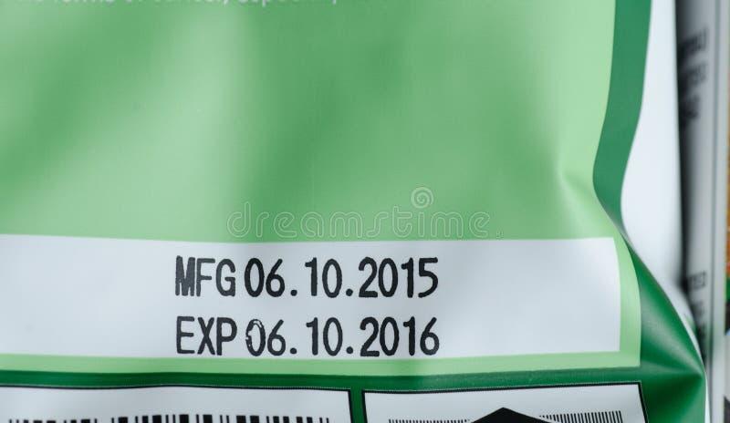 在产品组装打印的有效期限 库存照片