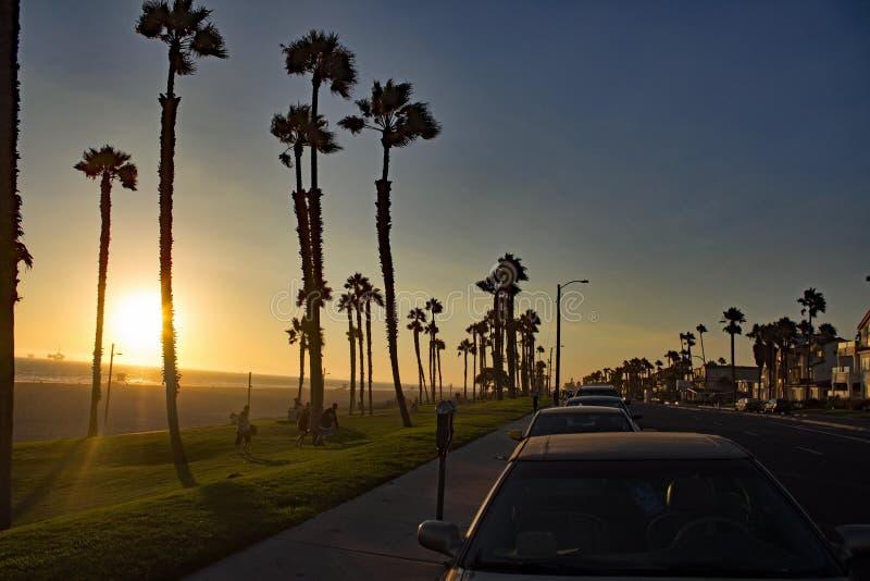 在亨廷顿海滩-加利福尼亚的日落-美国 免版税库存图片