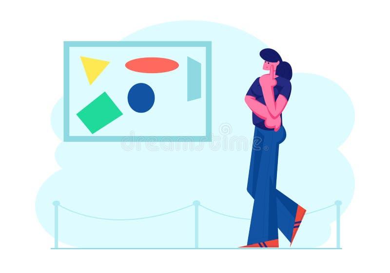 在享用当代的美术馆的女孩观察现代抽象绘画观看创造性的艺术品或展览在博物馆 向量例证