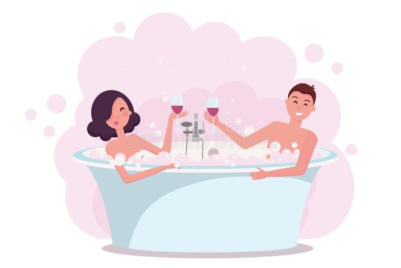 在享用的浴的夫妇喝红酒 在洗泡末浴,愉快的浪漫夫妇的bathrub的年轻人和妇女字符 向量例证