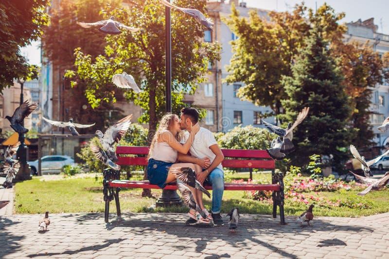 在亲吻和拥抱在夏天公园的爱的年轻混合的族种夫妇,当鸠飞行时 变冷的人们户外 库存照片