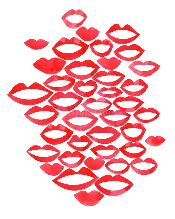在亲吻或微笑时尚唇膏性感嘴亲吻的嘴唇水彩美丽的红色嘴唇 商标的,卡片,横幅,海报,f概念 向量例证